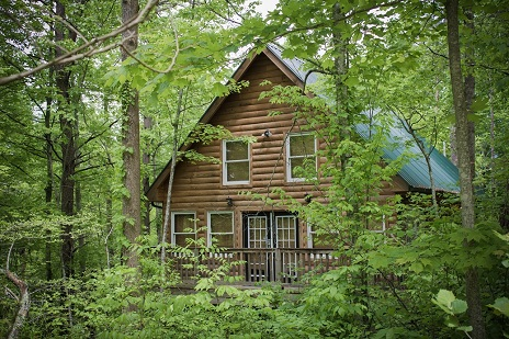 cabin with log siding in the red river mountain development