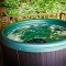 round hot tub on private deck