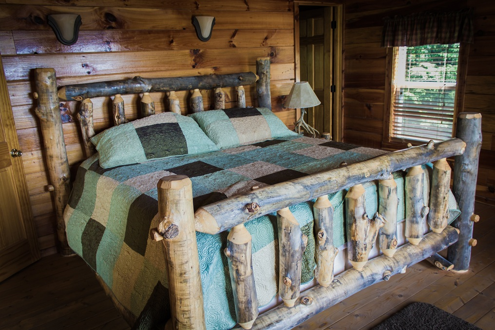 skillfully hand-crafted log king bed