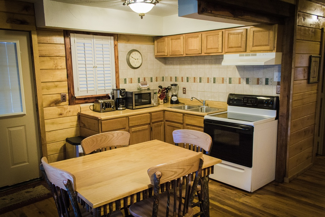 rustic kitchen with dining set for 4