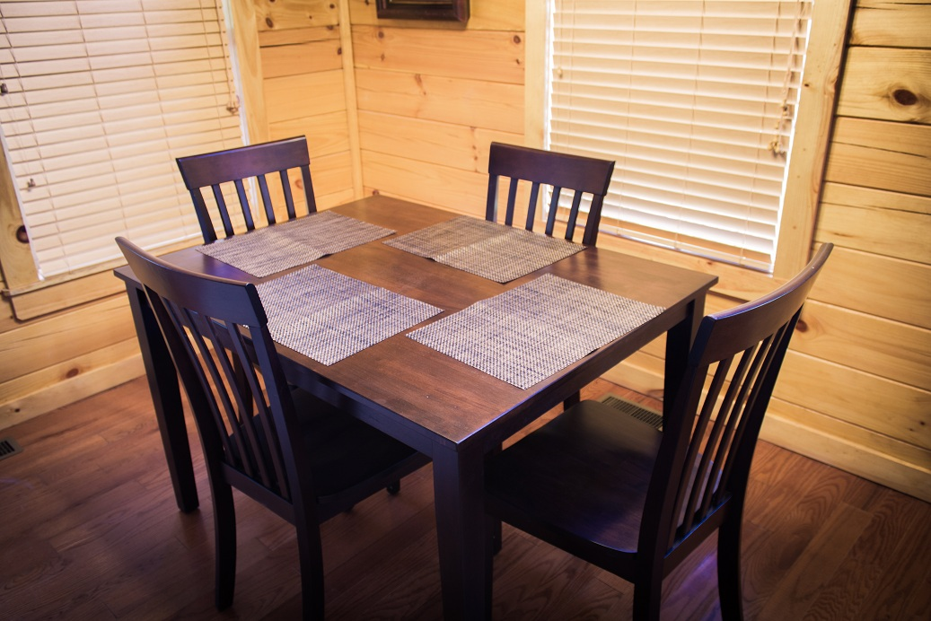 wood dining set with place mats