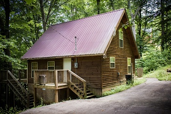 log siding cabin with amenities