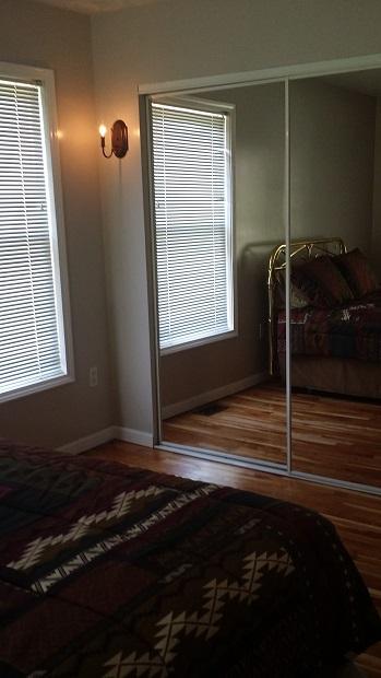 full length mirrors and hardwood floors
