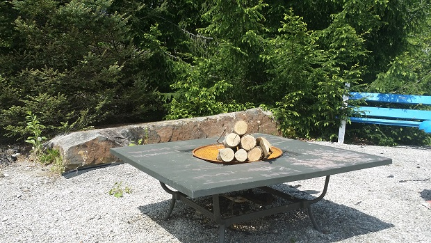 fire pit with rock and evergreen trees