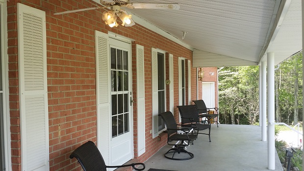 ceiling fan on front porch
