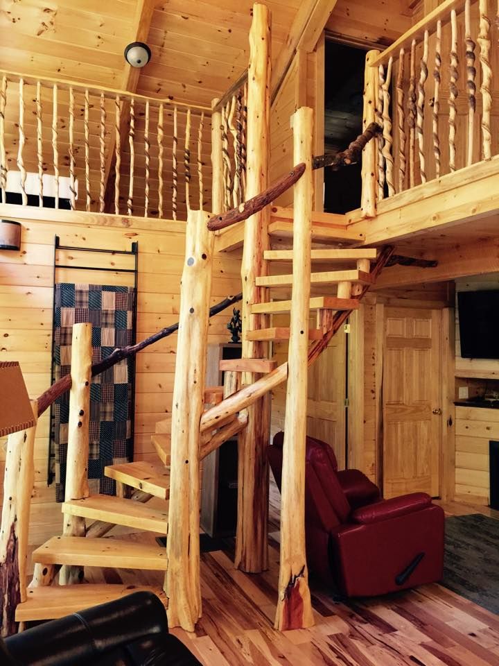 cabin stairs leading to open loft