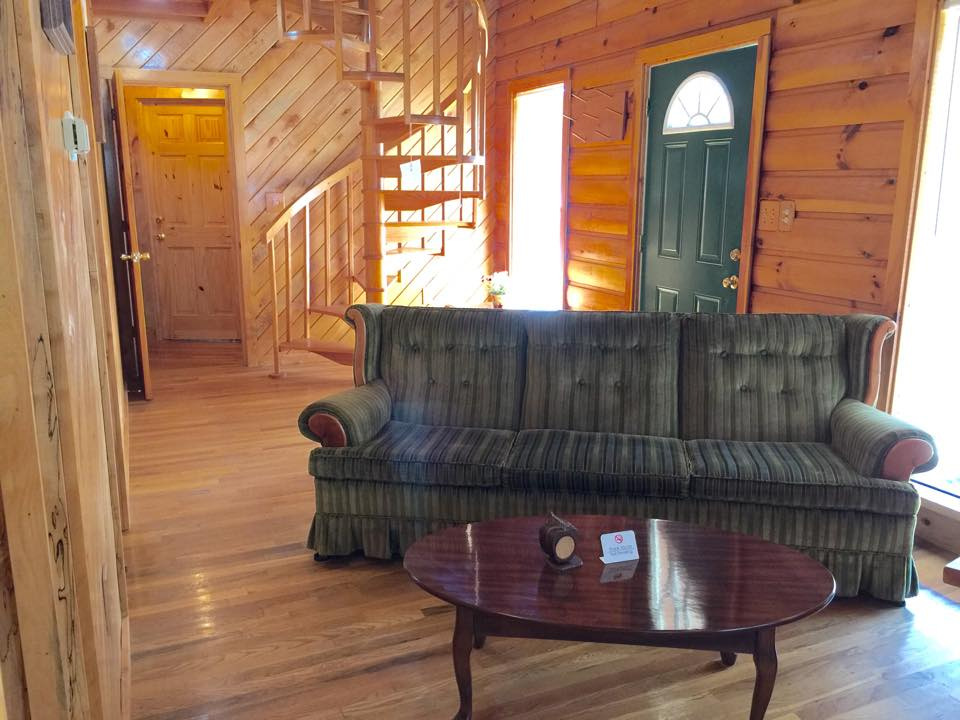 cozy couch at mountain rose cabin