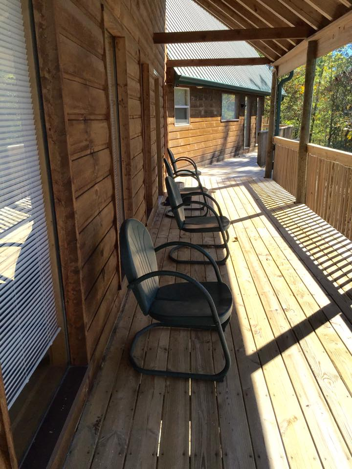 long deck and chairs at the cabin