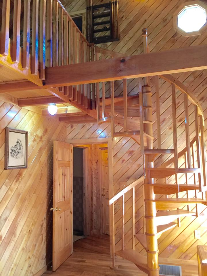 extended staircase in cabin