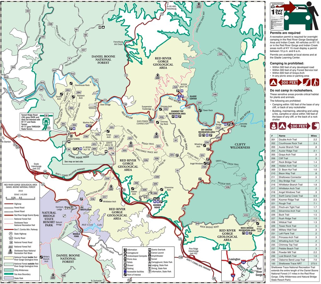 Red River Gorge Map Red River Gorge Attractions Red River Gorge Map